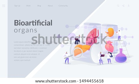 Growing body parts in science laboratory. Great scientific achievement, success Lab-Grown Organs, bioartificial organs, artificial organ concept. Website homepage header landing web page template.
