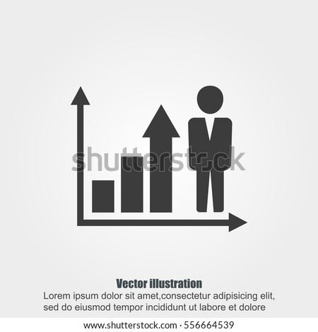Growing business man  graph icon.Vector illustration. Flat design