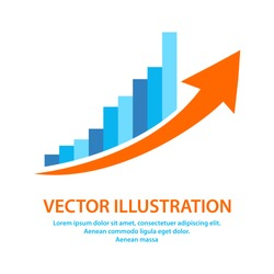 Growing BusinessGraph icon in flat style. Profit symbol for your web site design, logo, app. Vector EPS 10