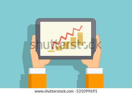 Growing chart of coins on the tablet screen. Hands holding a tablet. Flat vector illustration