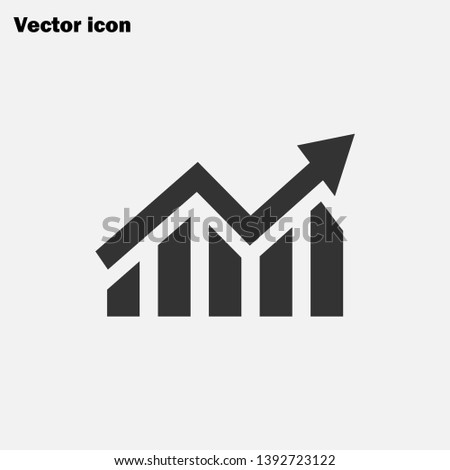 Growing graph icon, graph sign