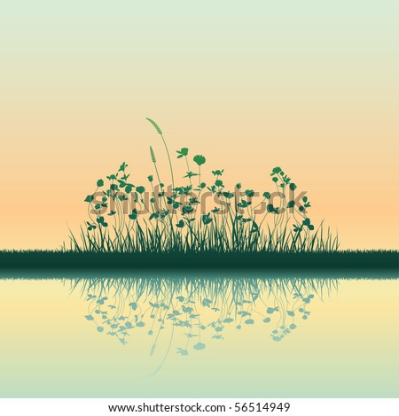 growing grass silhouettes