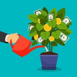 Growing money tree vector illustration. Businessman hand watering money tree