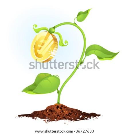 Growing money, vector illustration