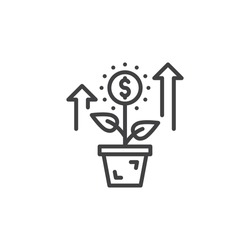 Growing plant, flower with dollar sign line icon, outline vector sign, linear pictogram isolated on white. Investment symbol, logo illustration
