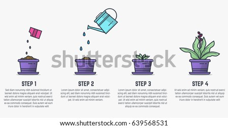 Plant growth evolution free vector download free vector art stock growing plant stages seeds watering can sprout and grown plant house plant ccuart Images