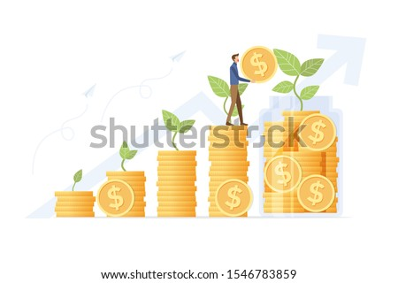 Growing saving Concept. young man putting coins in jar on money stack step growing growth saving money. Vector illustration flat design style.