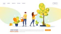 Growing tree with coins. Woman picking cash and man watering the money plant. Profit, income, making money, financial success, investment concept. Vector illustration for banner, poster, website.