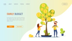 Growing tree with coins. Young famil picking cash from the money tree. Profit, income, making money, financial success, investment, family budget concept. Vector illustration for banner, website.