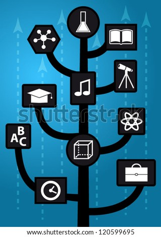Growing up modern education tree with knowledge icons and arrows