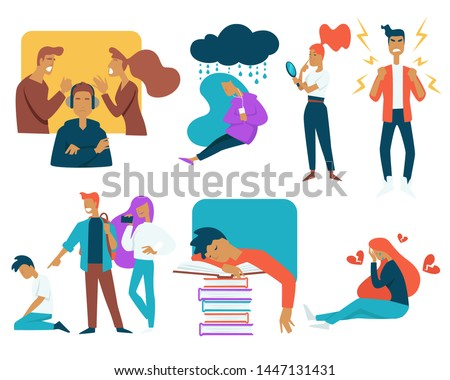 Growing up strugles and teenager stress isolated characters vector parents fighting and sad mood acnes and agression classmates bulling and studying first love and broken heart teen problems.