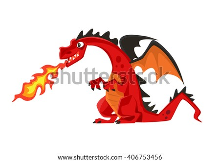 growl fire dragon vector flat