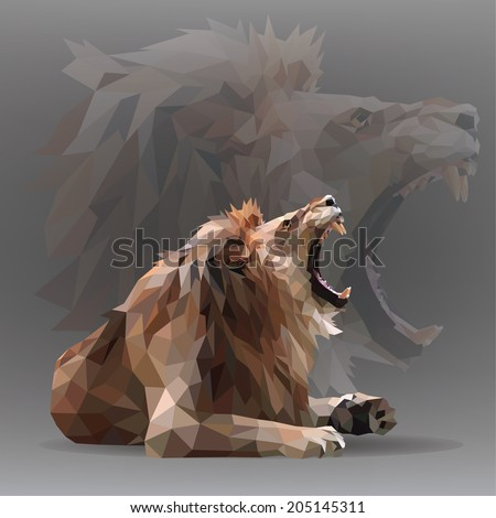 growling lion in geometrical