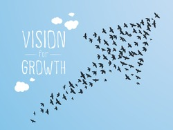Growth And Vision Illustration, Birds and Clouds.
