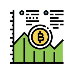 growth bitcoin rate ico color icon vector. growth bitcoin rate ico sign. isolated symbol illustration