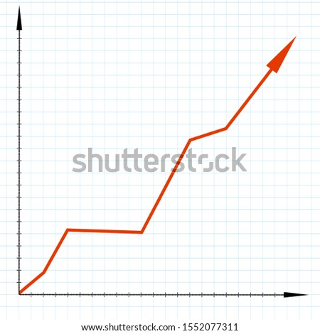 Growth chart. Growth graph on a notebook sheet in a cell.