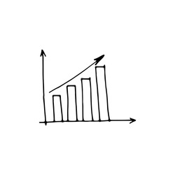 Growth chart of your business doodle icon, arrows signs, search earnings money profit isolated on white background. Vector outline illustration. Abstract frameworks. Best design for presentation