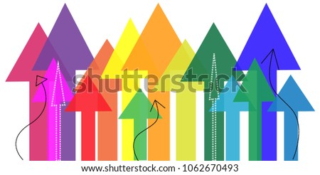 Growth concept, colorful arrows directing upwards