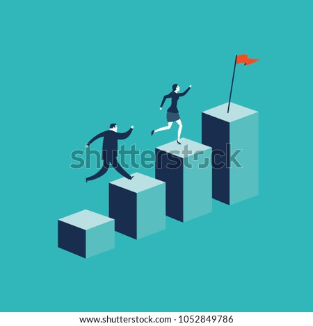 Growth concept with businessman jumping on chart columns. Success, achievement, motivation business symbol, Growth