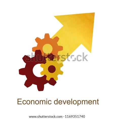Growth economic development concept, economic expansion, financial increase, growing economy, higher level, upgrade plan, rate grow financial  flat icon vector watercolor Illustration