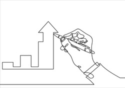 Growth graph concept. Businessman draws a chart of financial growth-Continuous line drawing