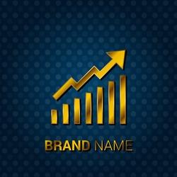 Growth Graph Royal Golden & Blue Metallic Premium Corporate Logo / Icon
