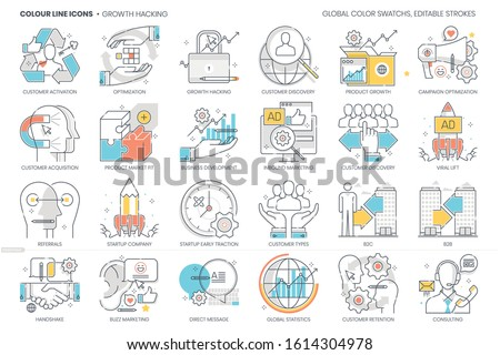 Growth hacking related, color line, vector icon, illustration set. The set is about customers, campaign, social media, business, start up, referrals, retention, early traction, marketing.
