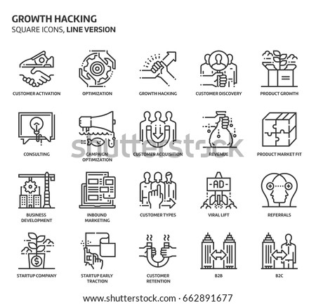 growth hacking  square icon set