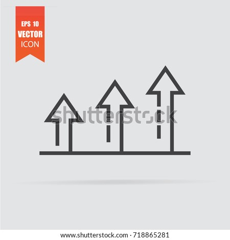 Growth icon in flat style isolated on grey background. For your design, logo. Vector illustration.