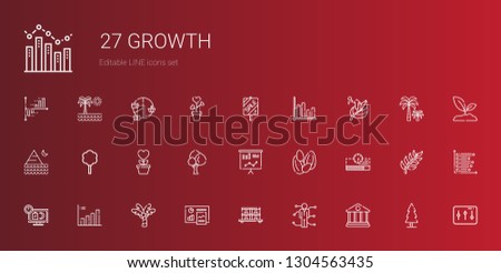 growth icons set. Collection of growth with bank, skills, stock, analytics, palm tree, bar chart, sale, progress bar, seeds, statistics, tree. Editable and scalable growth icons.