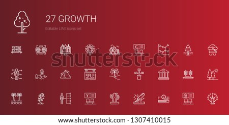 growth icons set. Collection of growth with progress bar, wood, cactus, bank, skills, tree, palm tree, sale, pyramid, investment, line chart. Editable and scalable growth icons.
