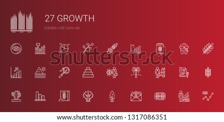 growth icons set. Collection of growth with vision, salary, tree, wheat flour, bar chart, cactus, skills, palm tree, pyramid, analytics, profits. Editable and scalable growth icons.