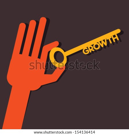 growth key in hand stock vector