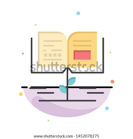 Growth, Knowledge, Growth Knowledge, Education Abstract Flat Color Icon Template