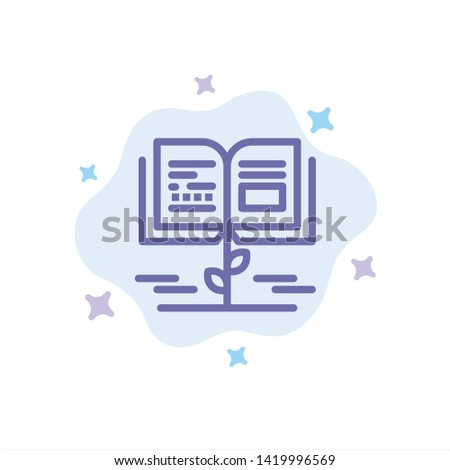 Growth, Knowledge, Growth Knowledge, Education Blue Icon on Abstract Cloud Background