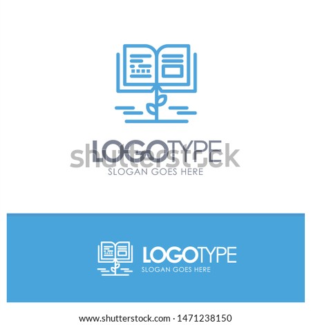 Growth, Knowledge, Growth Knowledge, Education Blue Logo Line Style. Vector Icon Template background