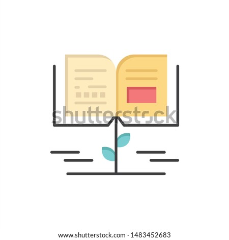 Growth, Knowledge, Growth Knowledge, Education  Flat Color Icon. Vector icon banner Template
