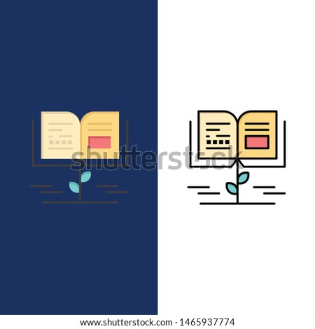 Growth, Knowledge, Growth Knowledge, Education  Icons. Flat and Line Filled Icon Set Vector Blue Background. Vector Icon Template background