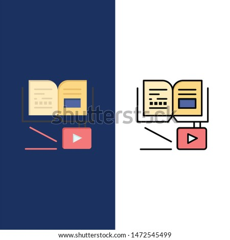 Growth, Knowledge, Growth Knowledge, Education  Icons. Flat and Line Filled Icon Set Vector Blue Background