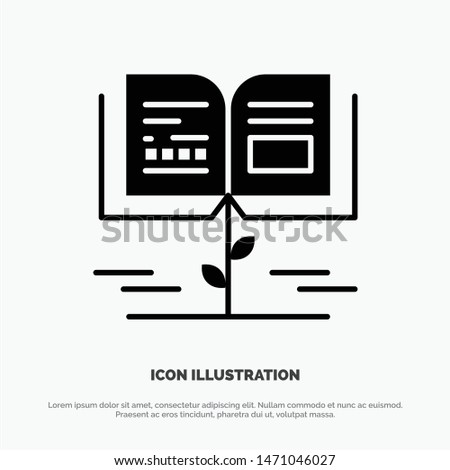 Growth, Knowledge, Growth Knowledge, Education Solid Black Glyph Icon. Vector Icon Template background