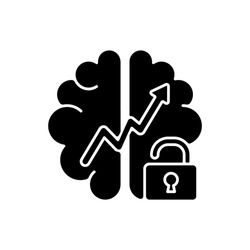 Growth mindset black glyph icon. Creative thinking idea. Brainstorm and teamwork. Broadening horizons. Improving thinking skills. Silhouette symbol on white space. Vector isolated illustration