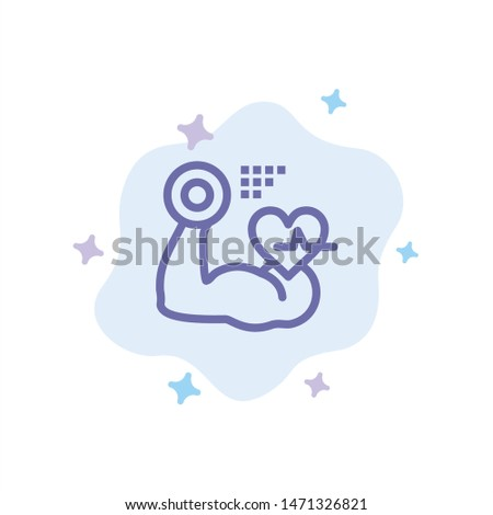 Growth, Muscle, Heart, Beat Blue Icon on Abstract Cloud Background. Vector Icon Template background Foto stock ©
