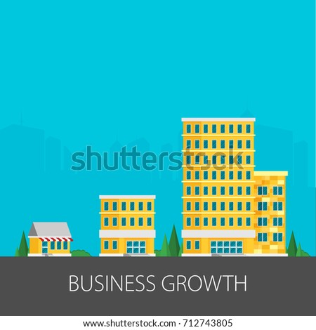 Shutterstock Growth of business. Buildings of company small, middle and big. Flat vector.