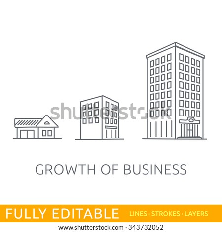 Growth of business. Buildings of company small, middle and big. Sketch line flat design of commerce architecture. Modern vector illustration concept. Fully editable outlines, saved brushes and layers.