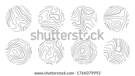 Growth rings of a tree. Wood stump line design. Vector illustration Foto d'archivio ©