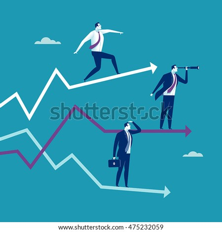Growth, stability, decline. Three businessmen standing on their arrow signs. Concept business vector illustration.