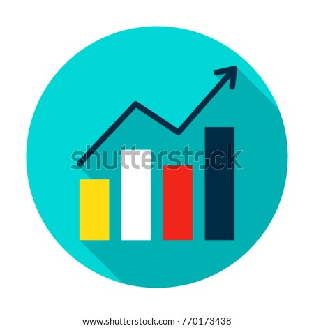 Growth Statistics Circle Icon. Vector Illustration Flat Style with Long Shadow.