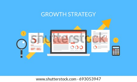 Growth strategy for business development, sales increase, profit generation, revenue, and customer base flat vector illustration on blue background