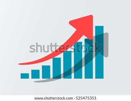 Growth vector diagram with red arrow going up. Vector icon isolated on white background. Success business symbol