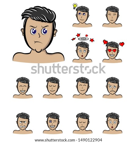 grumble face male character boys. set Handsome man emoji with various facial expressions. Vector illustration in cartoon style